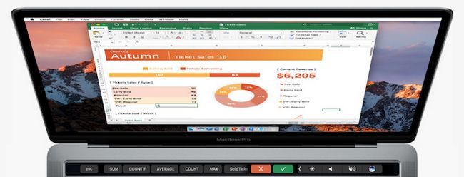 Microsoft Office Excel macbook bar Touch Pro