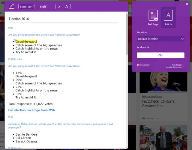 OneNote Web Clipper na borda