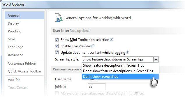 Microsoft Word Sugestão Tool - Opções