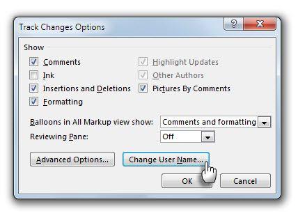 Opções de rastreamento - Alterar Nome de Usuário