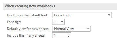 configurações padrão do Excel