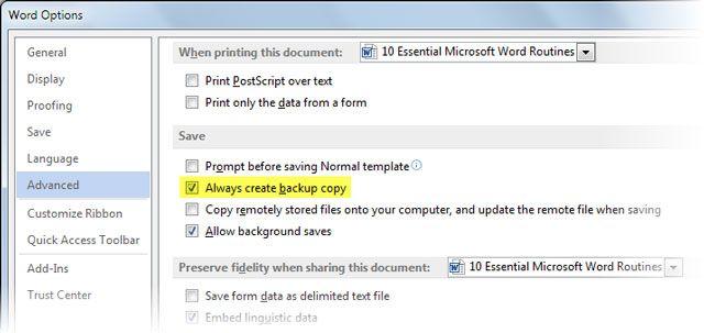 Palavra 2013 criar cópia de backup