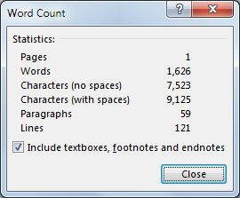 Palavra 2013 Word Count