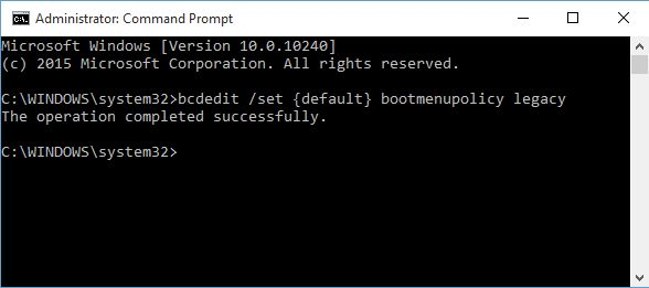 Windows 10 Command Prompt BCDEdit