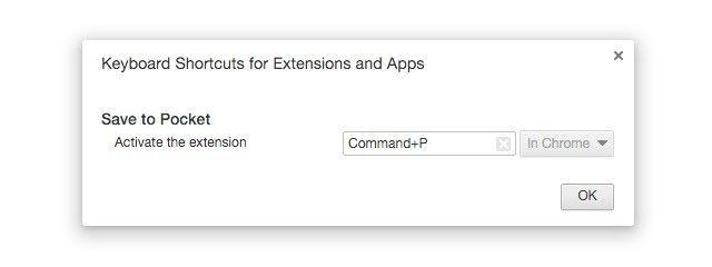 os atalhos de teclado para-extensões