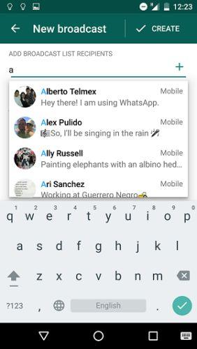 whatsapp de radiodifusão