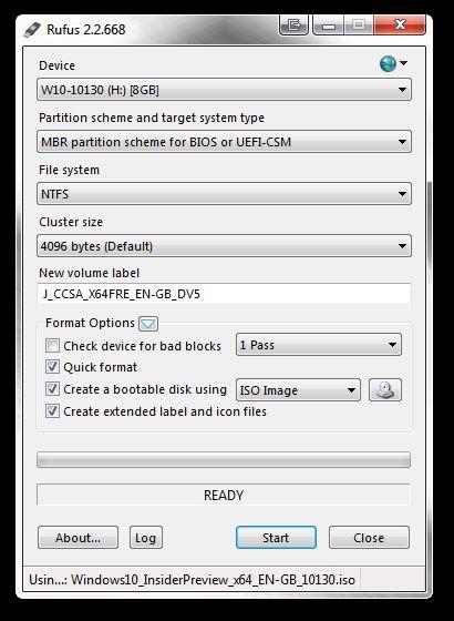 Rufus ISO para USB