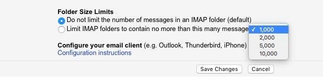 Gmail IMAP limites
