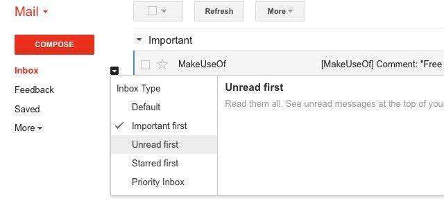 Gmail Caixa de entrada-estilos