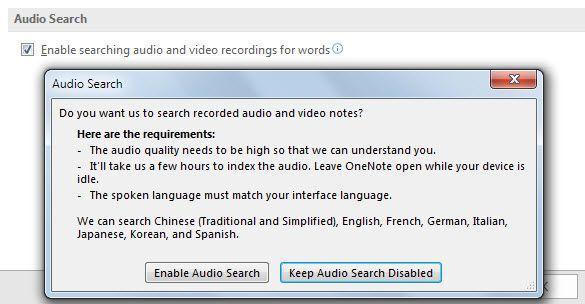 Pesquisar áudio no OneNote