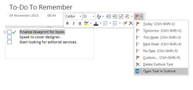 Tomando notas a partir do Outlook