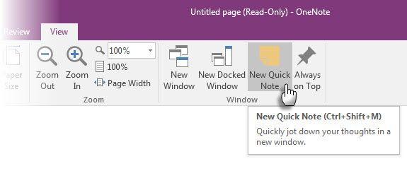 Microsoft OneNote - Nova Nota Rápida