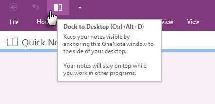 Microsoft OneNote - Dock para desktop