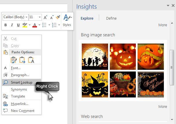 Microsoft Office 2016 - Lookup inteligente com Bing