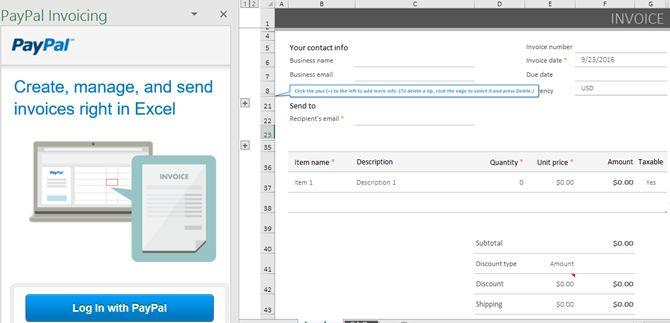 Excel Add-in PayPal Facturação