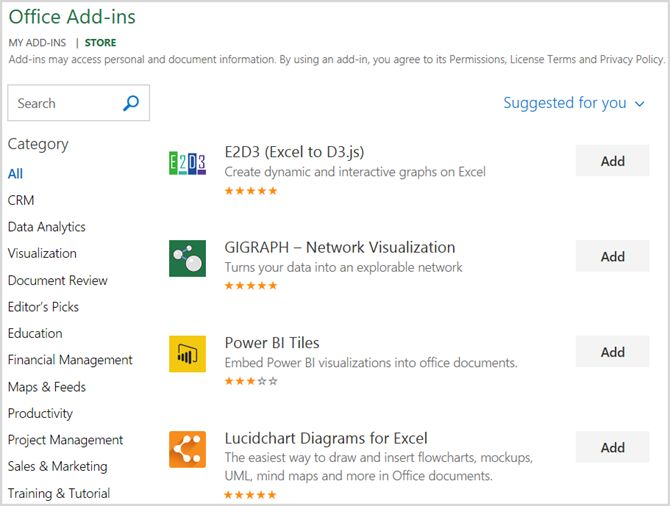 Microsoft Office Excel loja Add-Ins