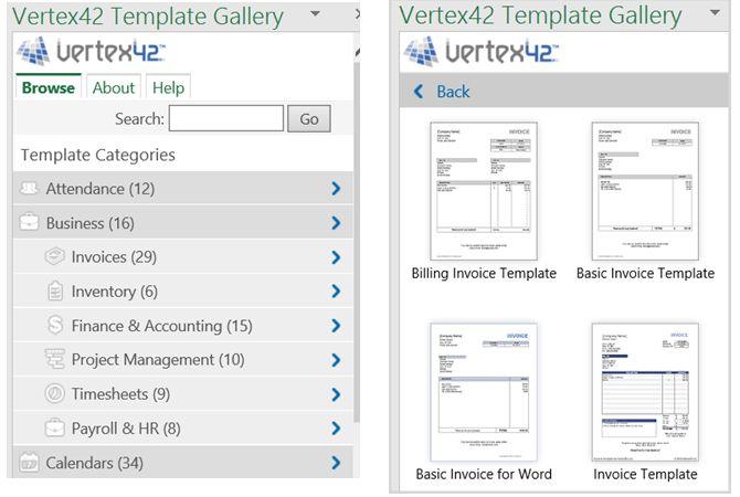 Excel Add-in Vertex42 Templates