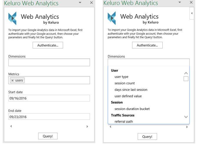 Excel Add-in Keluro Web Analytics