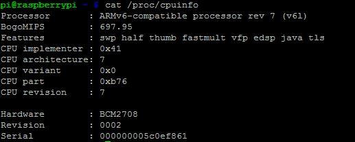 MUO-Raspberry Pi-comandos-cpuinfo