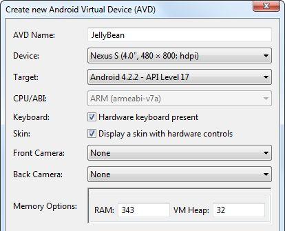 janelas emulador do Android