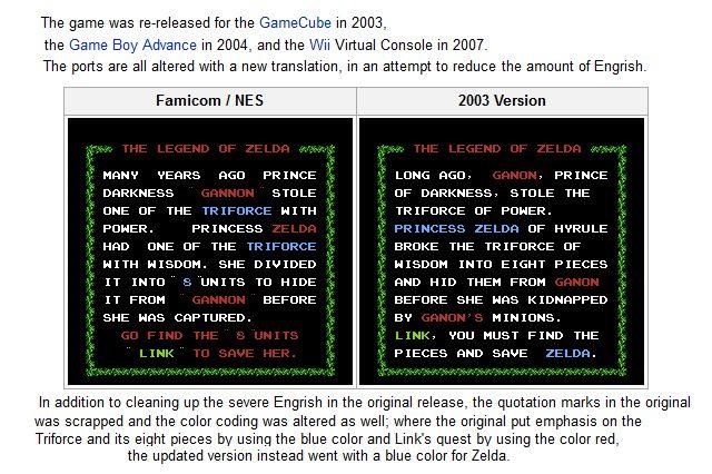 Diferenças de revisão de Zelda