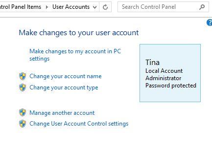 Do Windows 8.1 Painel de Controle Contas de Usuário