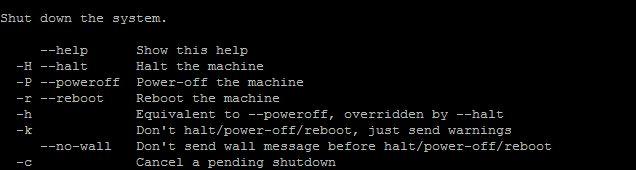 linux desligamento do terminal comandos ajuda