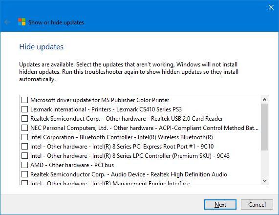 Lista de atualizações do Windows 10 Esconder