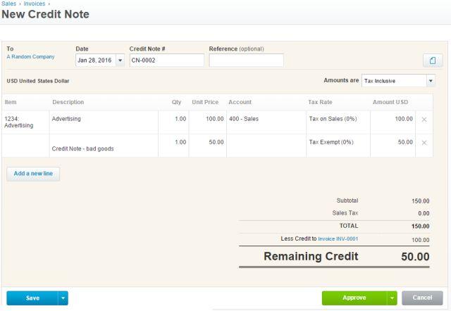 Xero-crédito-note