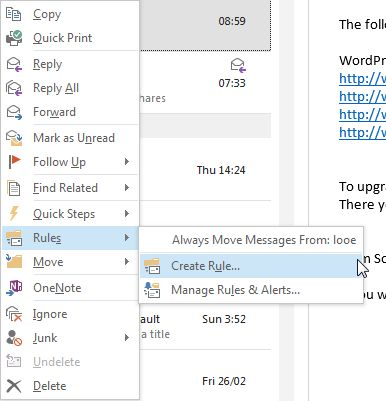 Outlook Criar Regra