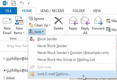 Outlook Opções Junk E-mail