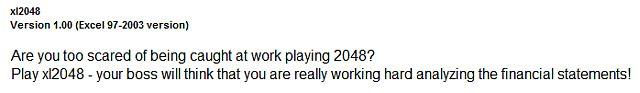 Medo de ser apanhado 2048 Microsoft Excel