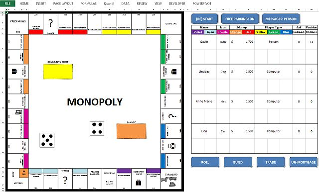 Monopoly jogo Microsoft Excel
