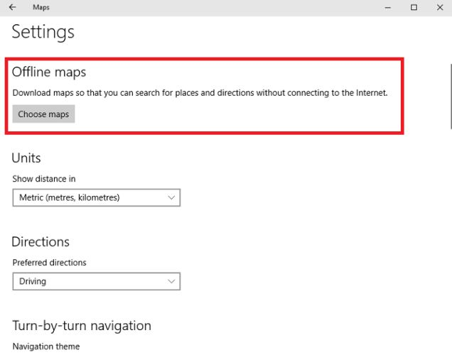 Configurações de Mapas offline do Windows 10