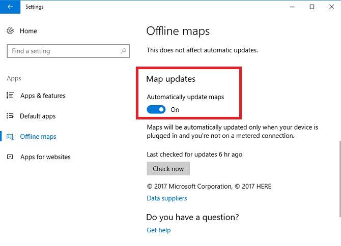 Configurações de Mapas do Windows Update off-line 10