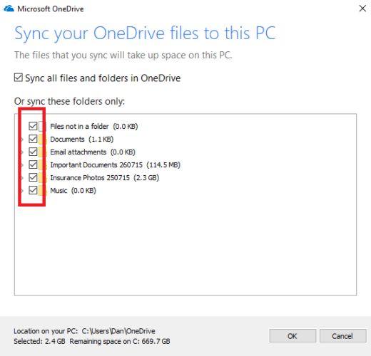 onedrive pastas de sincronização do Windows 10