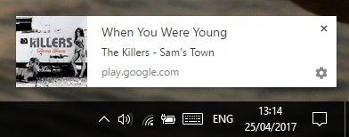 Google notificações de desktop música do jogo