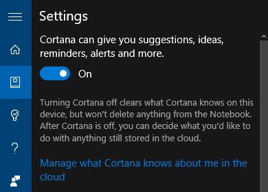 10 Configurações Cortana do Windows