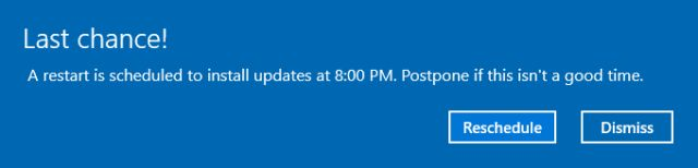 Reinicie o Windows 10 Agendada
