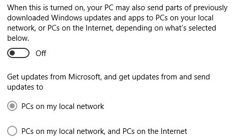 Windows 10 compartilhar atualizações