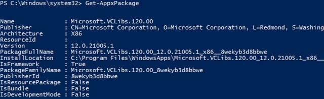 windows-10 powershell-obter-appxpackage