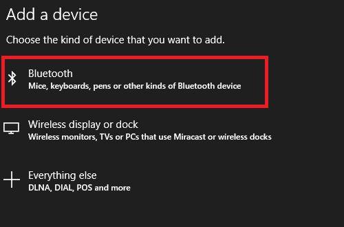 adicionar o Windows tela Bluetooth 10