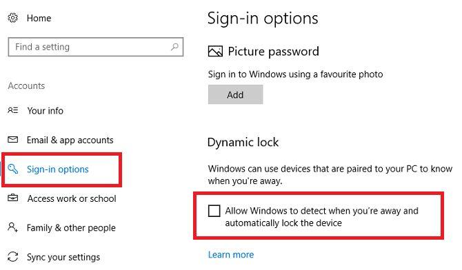 Windows 10 bloqueio dinâmico
