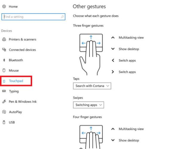 Windows 10 configurações do touchpad