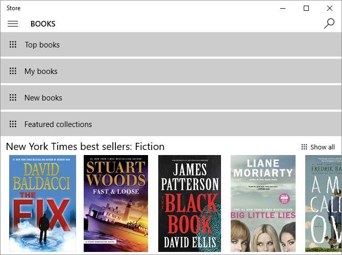 Windows 10 livros de loja