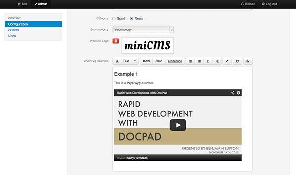 site estático gerador DocPad administrador
