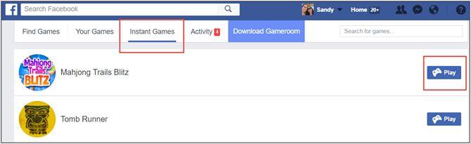 facebook jogos instantâneos web