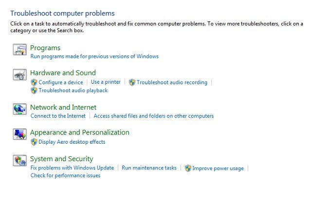 Windows-ferramentas de resolução de problemas