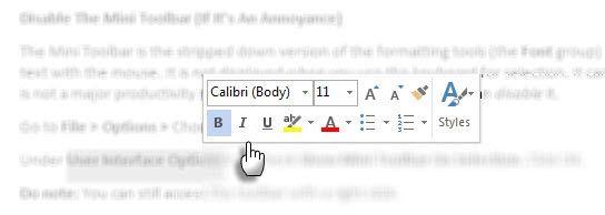 Mostrar Mini Toolbar