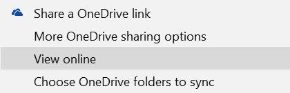 Onedrive Opções do Office Online